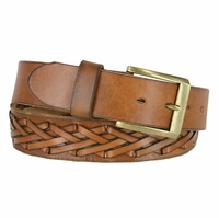 Fullerton 386002-P4612 Hand Laced Genuine Full Grain Leather Belt  with Antique Brass Buckle