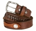 "Fullerton Vintage Leather Buffalo Nickle Concho Belt Hand-Laced Genuine Full Grain Leather Belt 1-1/2"" Wide"