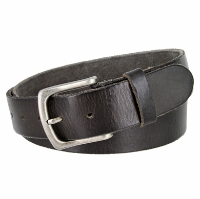 "Genuine Full Grain Leather Casual Jean Belt 1-1/2"" Wide - Black"
