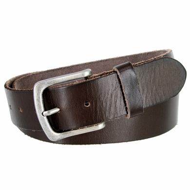 "Genuine Full Grain Leather Casual Jean Belt 1-1/2"" Wide - Brown"