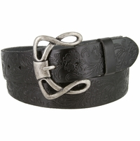 "Genuine Full Grain Leather Embossed Floral Design Western Belt 1-1/2"" wide- Black"