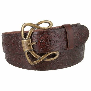 "Genuine Full Grain Leather Embossed Floral Design Western Belt with Brass Buckle 1-1/2"" wide- Brown"