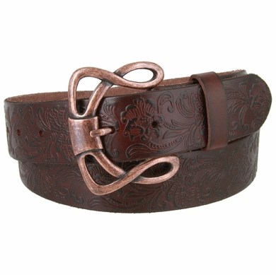 "Genuine Full Grain Leather Embossed Floral Design Western Belt with Copper Buckle 1-1/2"" wide- Brown"