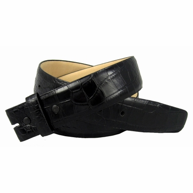 "Genuine Italian Calf Skin Alligator Embossed Strap 1-1/2"" Wide Black"