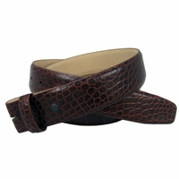 "Genuine Italian Calf Skin Alligator Embossed Strap 1-1/2"" Wide - Brown"