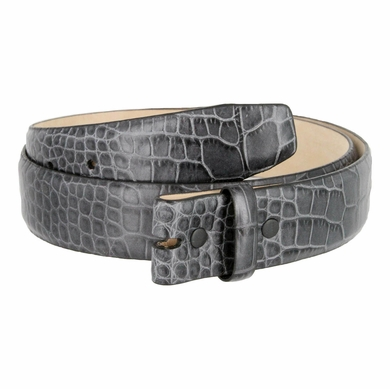 "Genuine Italian Calf Skin Alligator Embossed Strap 1-3/8""(35mm) wide - Gray"