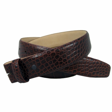 "Genuine Italian Calf Skin Alligator Embossed Strap 1 3/8"" -Brown"