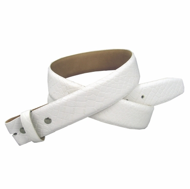 "Genuine Italian Calf Skin Alligator Embossed Strap 1 3/8"" - White"