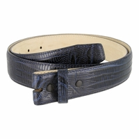 "Genuine Italian Calf Skin Lizard Embossed Strap 1-3/8"" (35mm) wide - Navy"