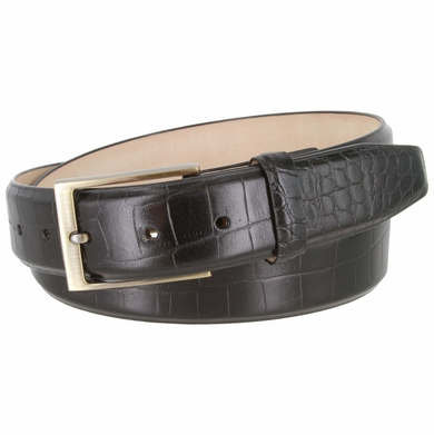 "Genuine Italian Calfskin Alligator Embossed Leather Casual Dress Belt  1-3/8"" Wide - Black"