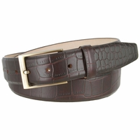 "Genuine Italian Calfskin Alligator Embossed Leather Casual Dress Belt  1-3/8"" Wide - Brown"