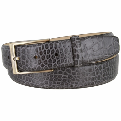 "Genuine Italian Calfskin Alligator Embossed Leather Casual Dress Belt  1-3/8"" Wide - Gray"