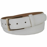 "Genuine Italian Calfskin Alligator Embossed Leather Casual Dress Belt  1-3/8"" Wide - White"