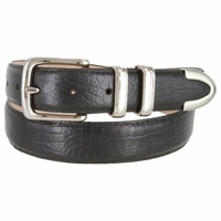 "Genuine Italian Calfskin Alligator Embossed Leather Office Dress Belt  1-1/4"" Wide - Black"