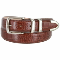 "Genuine Italian Calfskin Alligator Embossed Leather Office Dress Belt  1-1/4"" Wide - Brown"