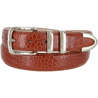 "Genuine Italian Calfskin Alligator Embossed Leather Office Dress Belt  1-1/4"" Wide - Cognac"