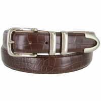"Genuine Italian Calfskin Alligator Embossed Leather Office Dress Belt  1-1/4"" Wide - Wine"