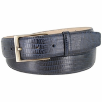"Genuine Italian Calfskin Lizard Embossed Leather Casual Dress Belt  1-3/8"" Wide - Navy"