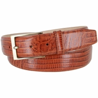 "Genuine Italian Calfskin Lizard Embossed Leather Casual Dress Belt  1-3/8"" Wide - Tan"