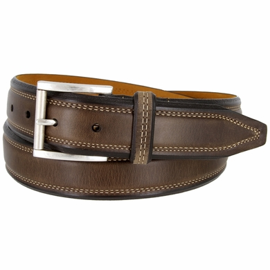 "Genuine Italian Full Grain Leather Dress Belt Antiqued Roller Buckle 1-3/8"" wide - 41042"