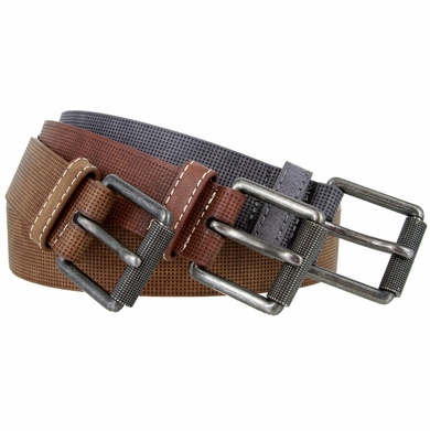"Genuine Leather Stippled Design Casual Belt with Roller Buckle 1-1/2"" wide"