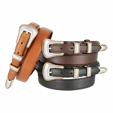 "Gold Edge Men's Genuine Leather Ranger Belt 1-3/8"" taper to 3/4"""