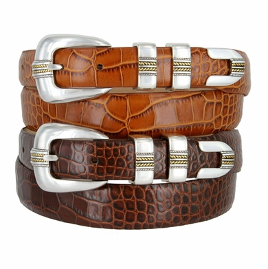 Gold Norris Men's Italian Calfskin Genuine Leather Designer Belt