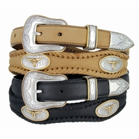 Golden Steer Western Leather Concho Belt