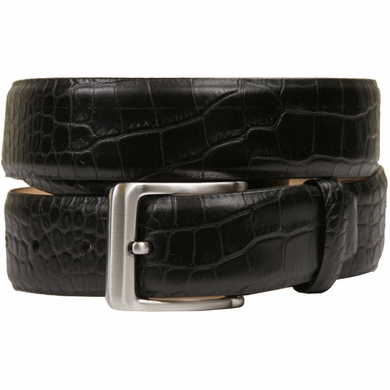 "Grove Genuine Italian Leather Dress Belt 1-3/8"" (35mm) - Alligator Black"