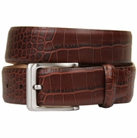 "Grove Genuine Italian Leather Dress Belt 1-3/8"" (35mm) - Alligator Brown"