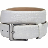"Grove Genuine Italian Leather Dress Belt 1-3/8"" (35mm) - Alligator White"