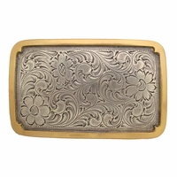 H8134 ASAG Western Engraved Rectangular Belt Buckle