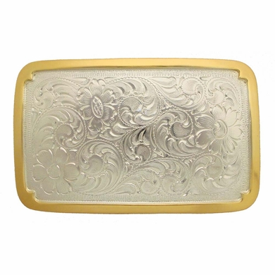 H8134 GSP Western Engraved Rectangular Belt Buckle