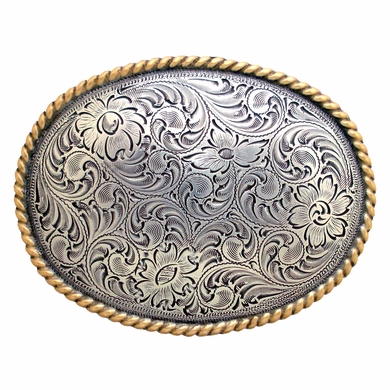 H8136 ASAG Western Engraved Rope Edged Oval Belt Buckle
