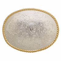 H8136 GSP Western Engraved Rope Edged Oval Belt Buckle