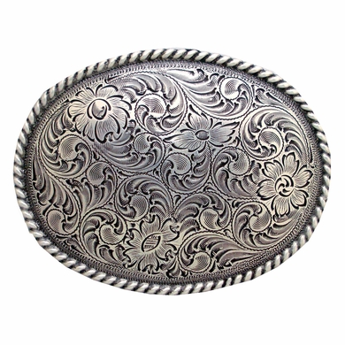 H8136 LASRP Western Engraved Rope Edged Oval Belt Buckle