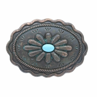 "H8389-2 Turquoise Inlay Flower Patina Buckle Fits 1-3/8"" Wide Belt"
