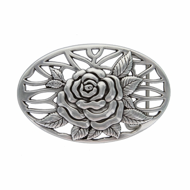 """HA-0493 Silver Rose and Vines Oval Buckle 1-1/2"""""""