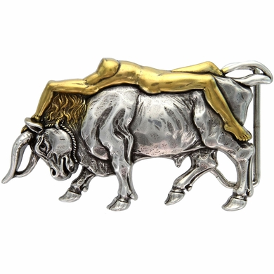 HA-1437 Antique Silver/Gold Lady Bull Belt Buckle