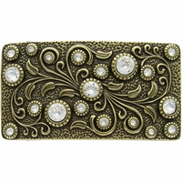 HA0850 Antique Brass Rectangle Engraved Belt Buckle Crystal