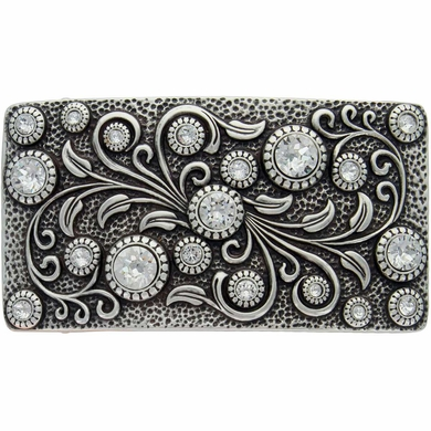 HA0850 Antique Silver Rectangle Engraved Belt Buckle Crystal