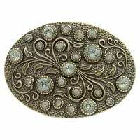 HA0860 Antique Brass Oval Engraved Belt Buckle Black Diamond
