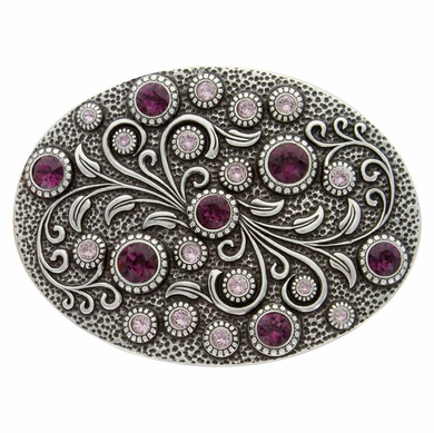 HA0860 Antique Silver Oval Engraved Belt Buckle Amethyst/Lt. Amethyst
