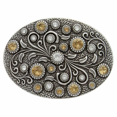 HA0860 Antique Silver Oval Engraved Belt Buckle Crystal/Lt. Colo Topaz