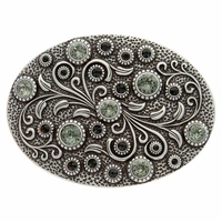HA0860 Antique Silver Oval Engraved Belt Buckle Jet/Black Diamond