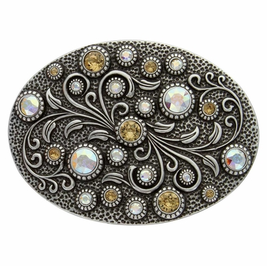 HA0860 Antique Silver Oval Engraved Belt Buckle Lt. Colo Topaz Crystal AB