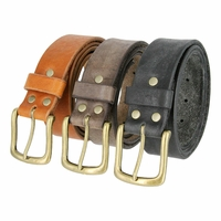 Hand-cut Leather Belt with Vintage Brass Buckle Made In USA Belt