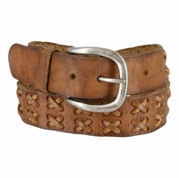 Hand Laced Crosses Full Grain Vintage Leather Belt - Brown