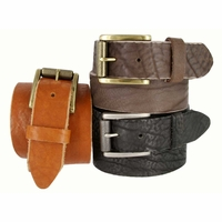 "Handcrafted in USA Full Grain Leather Casual Belt with Roller Buckle 1-1/2"" wide"