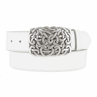 "Heart Connected Silver Engraved Buckle Genuine Full Grain Leather Casual Jean Belt 1-1/2""(38mm) Wide"
